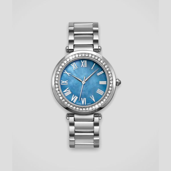Lady's Stainless Steel Watch with Blue Mother of Pearl Dial & Crystal Bezel J. Schrecker Jewelry Hopkinsville, KY