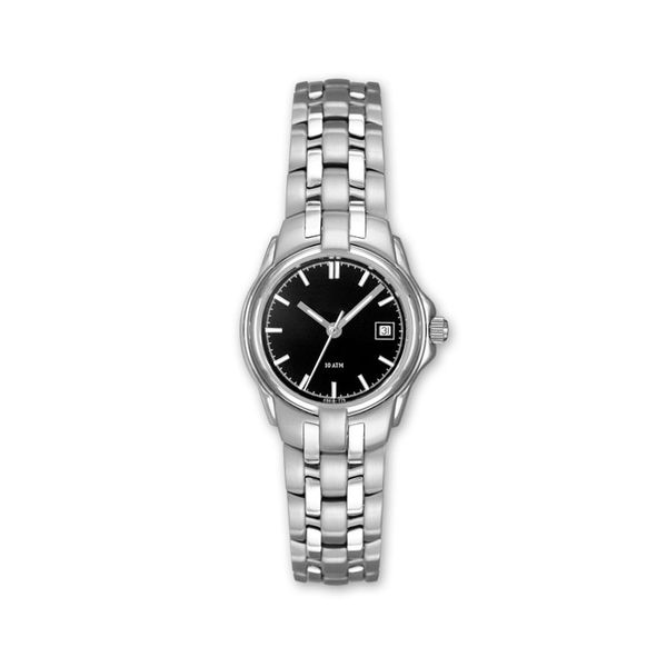 Lady's Stainless Steel Watch with Black Dial and Date J. Schrecker Jewelry Hopkinsville, KY