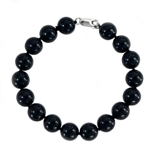 Polished Black Onyx Bead Bracelet with Sterling Silver Clasp Image 2 J. Schrecker Jewelry Hopkinsville, KY