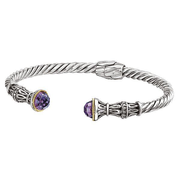 Sterling Silver and Yellow Gold Fancy Twist and Filigree Design Hinged Cuff Bracelet with Amethysts J. Schrecker Jewelry Hopkinsville, KY