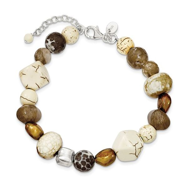 Bead Bracelet with Brown Freshwater Pearl, Mother of Pearl, Agate, Magnesite, and Quartz with Sterling Silver J. Schrecker Jewelry Hopkinsville, KY