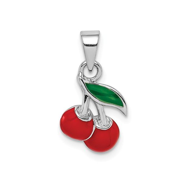 Sterling Silver Cherries Charm with Enamel Detail J. Schrecker Jewelry Hopkinsville, KY
