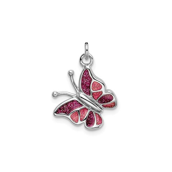 Sterling Silver Butterfly Charm with Pink Glitter Enamel Detail J. Schrecker Jewelry Hopkinsville, KY