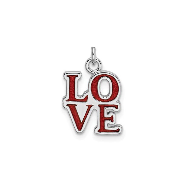 Sterling Silver LOVE Charm with Red Enamel J. Schrecker Jewelry Hopkinsville, KY