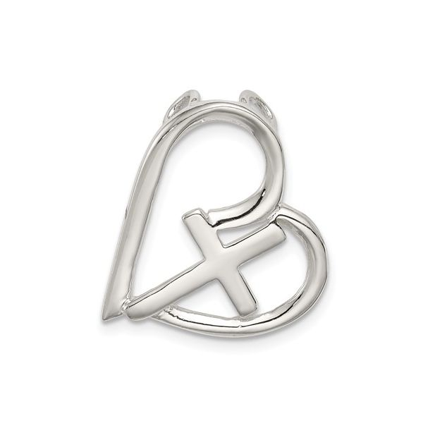 Cross and Heart Pendant in Sterling Silver J. Schrecker Jewelry Hopkinsville, KY