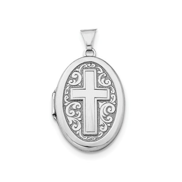 Oval Locket with Cross in Sterling Silver J. Schrecker Jewelry Hopkinsville, KY