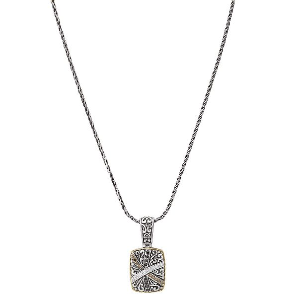 Eleganza Sterling Silver and 18 Karat Black, Chocolate, and White Diamond Pendant J. Schrecker Jewelry Hopkinsville, KY