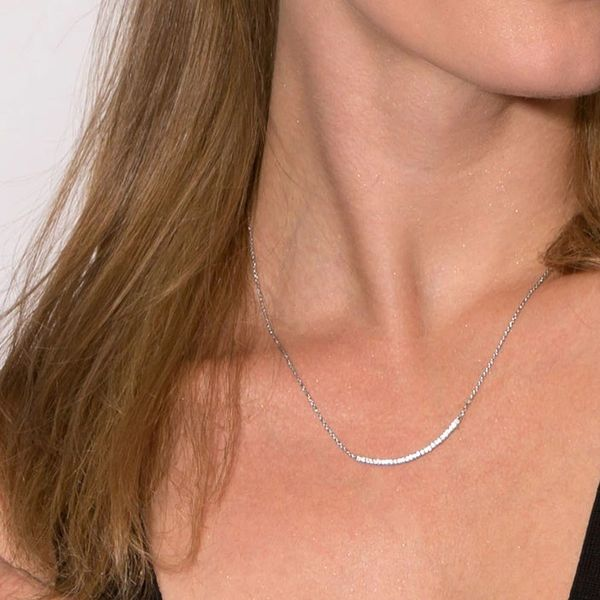 Sterling Silver Curved Bar Necklace with CZ Image 2 J. Schrecker Jewelry Hopkinsville, KY