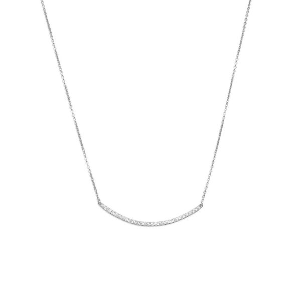 Sterling Silver Curved Bar Necklace with CZ J. Schrecker Jewelry Hopkinsville, KY