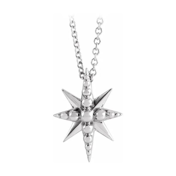 Sterling Silver Beaded Starburst Cable Link Necklace J. Schrecker Jewelry Hopkinsville, KY
