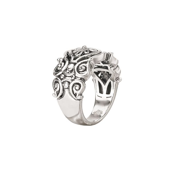 Sterling Silver Scroll and Flower Design Ring with a Polished Finish Image 2 J. Schrecker Jewelry Hopkinsville, KY
