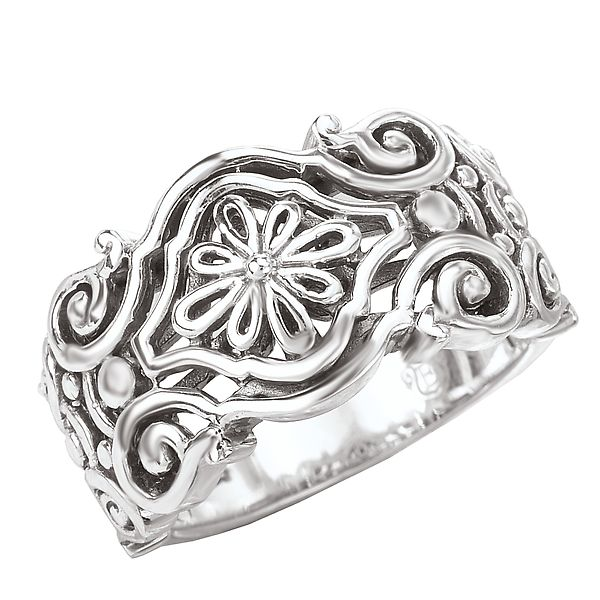 Sterling Silver Scroll and Flower Design Ring with a Polished Finish J. Schrecker Jewelry Hopkinsville, KY