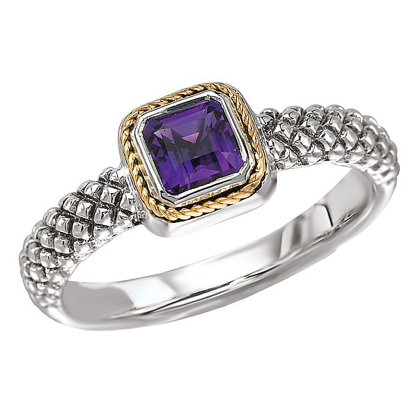 Sterling Silver Ring with Amethyst and Yellow Gold Accents J. Schrecker Jewelry Hopkinsville, KY