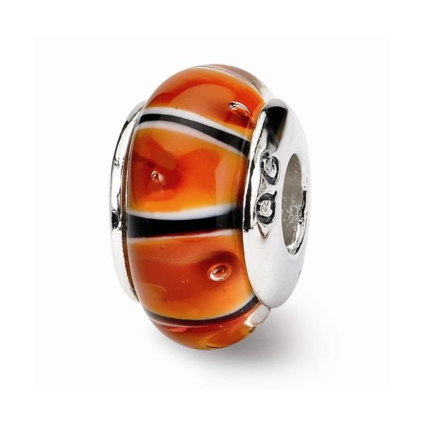 Sterling Silver Bead with Orange-Red, Black, and White Dots J. Schrecker Jewelry Hopkinsville, KY