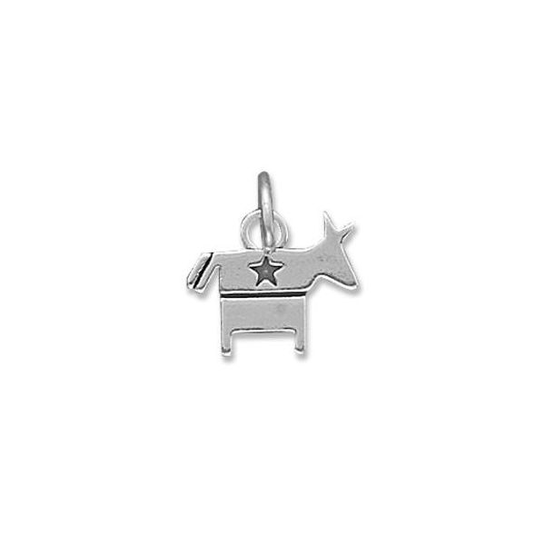 Sterling Silver Democratic Donkey Charm with Star in an Oxidized Finish J. Schrecker Jewelry Hopkinsville, KY