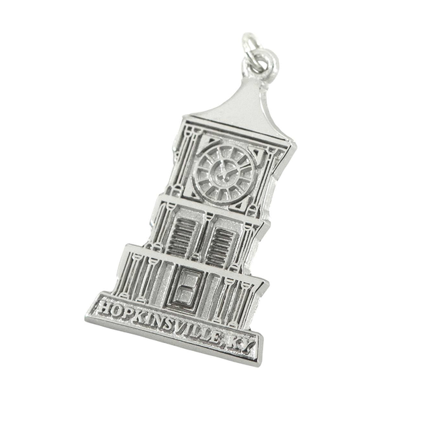 Custom Sterling Silver Hopkinsville Clock Tower Charm J. Schrecker Jewelry Hopkinsville, KY
