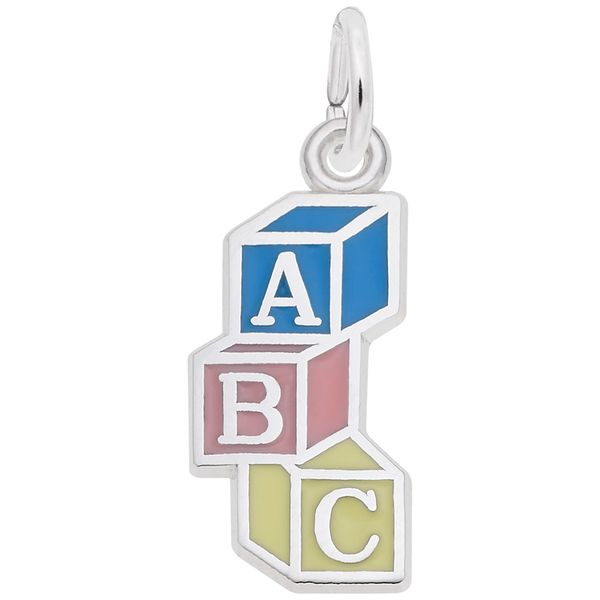 Sterling Silver ABC Block Charm with Blue, Pink, & Yellow Enamel Detail J. Schrecker Jewelry Hopkinsville, KY