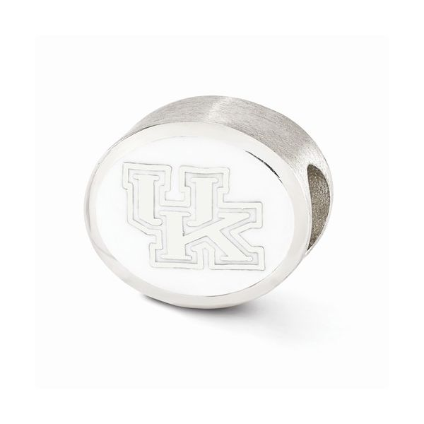 Sterling Silver University of Kentucky UK Bead with Blue and White Enamel Image 2 J. Schrecker Jewelry Hopkinsville, KY