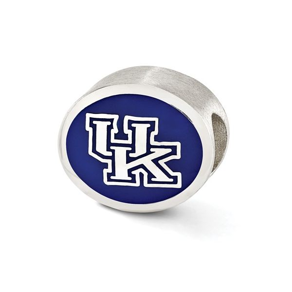 Sterling Silver University of Kentucky UK Bead with Blue and White Enamel J. Schrecker Jewelry Hopkinsville, KY
