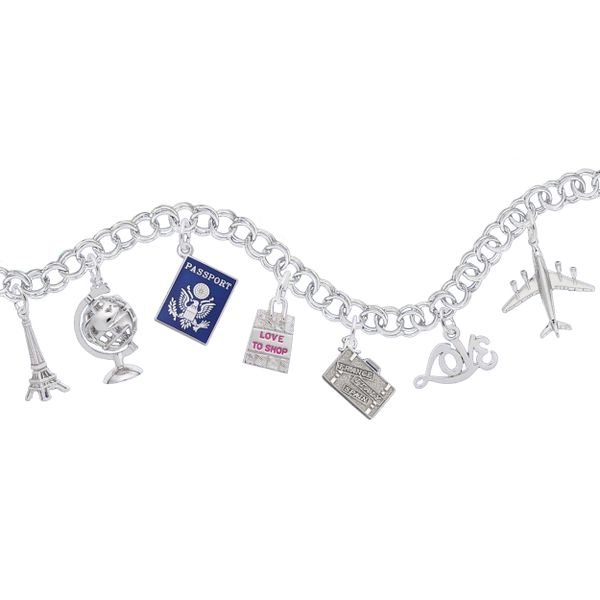 Sterling Silver American Passport Charm with Blue Enamel Image 2 J. Schrecker Jewelry Hopkinsville, KY