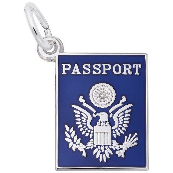 Sterling Silver American Passport Charm with Blue Enamel J. Schrecker Jewelry Hopkinsville, KY