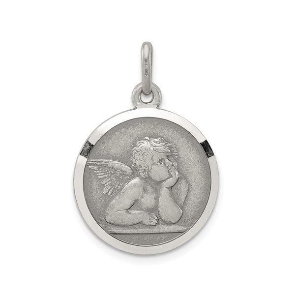 Guardian Angel Round Charm in Sterling Silver J. Schrecker Jewelry Hopkinsville, KY