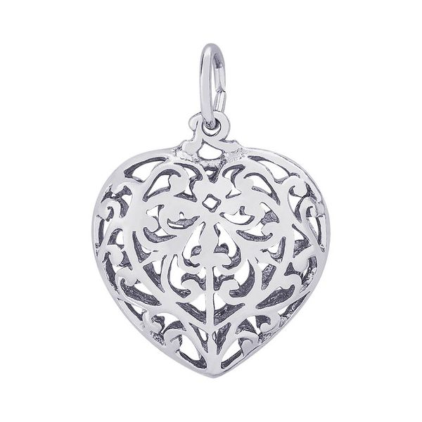Sterling Silver Puffed Filigree Heart Charm J. Schrecker Jewelry Hopkinsville, KY