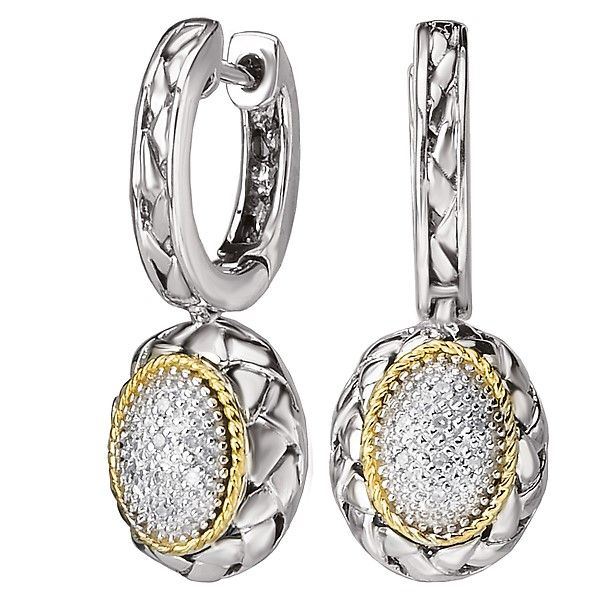 Sterling Silver and 18 Karat Gold Oval Dangle Pave' Diamond Drop Earrings J. Schrecker Jewelry Hopkinsville, KY