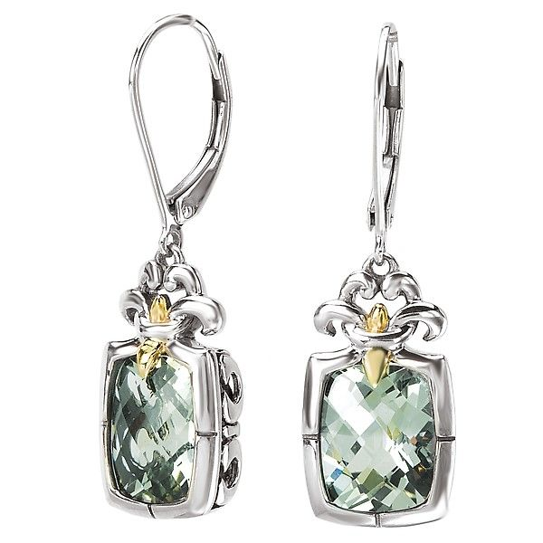 Eleganza Sterling Silver Earrings with Green Amethyst / Prasiolite and Yellow Gold Accents J. Schrecker Jewelry Hopkinsville, KY