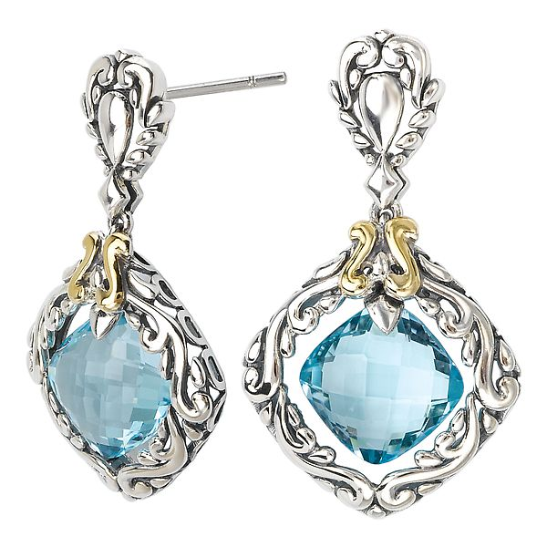 Eleganza Sterling Silver Earrings with Swiss Blue Topaz and Yellow Gold Accents J. Schrecker Jewelry Hopkinsville, KY