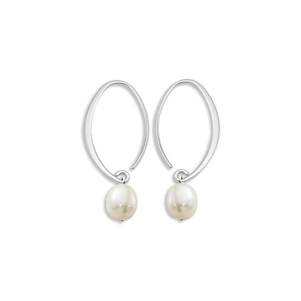 Sterling Silver Oval White Freshwater Drop Pearl Earrings J. Schrecker Jewelry Hopkinsville, KY