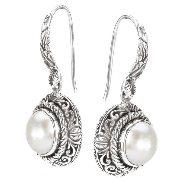 Eleganza Ornate Sterling Silver Dangle Earrings with White Mabe Pearls Image 2 J. Schrecker Jewelry Hopkinsville, KY