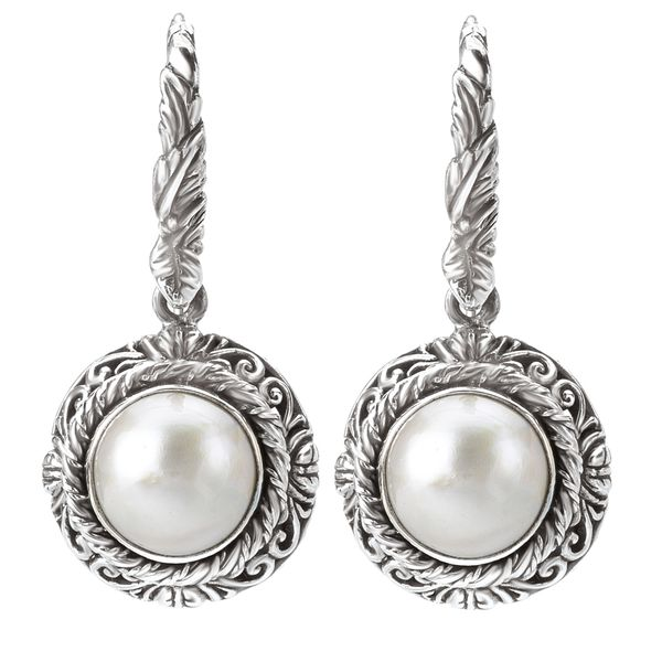Eleganza Ornate Sterling Silver Dangle Earrings with White Mabe Pearls J. Schrecker Jewelry Hopkinsville, KY