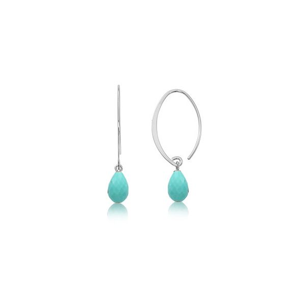 Sterling Silver Sweep Faceted Turquoise Briolette Dangle Earrings J. Schrecker Jewelry Hopkinsville, KY
