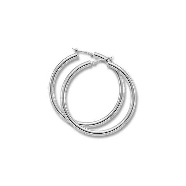 Sterling Silver Round Tube Hoop Earrings, 40 Millimeter Diameter J. Schrecker Jewelry Hopkinsville, KY
