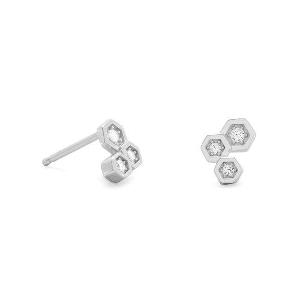 Sterling Silver Modern Honeycomb Stud Earrings with CZ J. Schrecker Jewelry Hopkinsville, KY