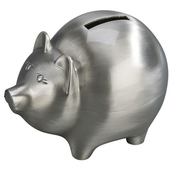 Large Piggy Bank in a Brushed Pewter Finish J. Schrecker Jewelry Hopkinsville, KY