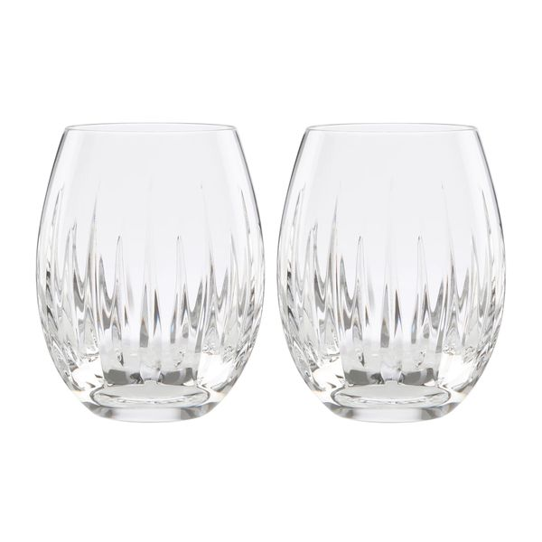 Set of Two Reed & Barton Soho Crystal Stemless Wine Glasses J. Schrecker Jewelry Hopkinsville, KY