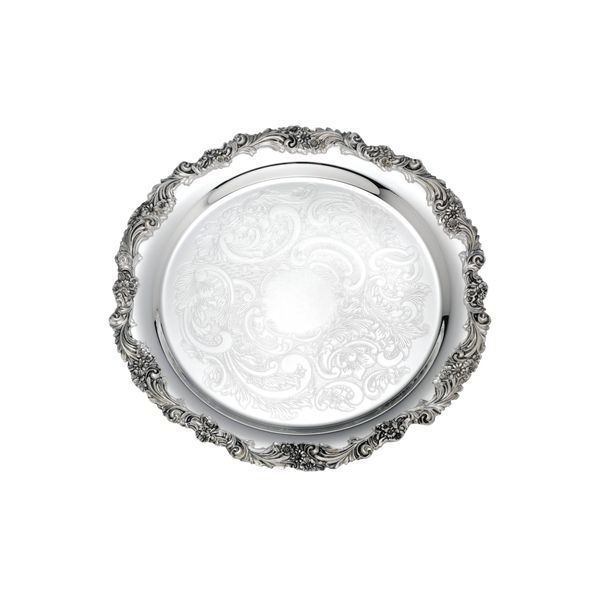 Silver Plated Engraved Tray with Decorative Border, 13 Inch J. Schrecker Jewelry Hopkinsville, KY