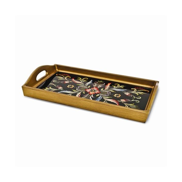 Rectangular Wood and Painted Glass Serving Tray in Black J. Schrecker Jewelry Hopkinsville, KY