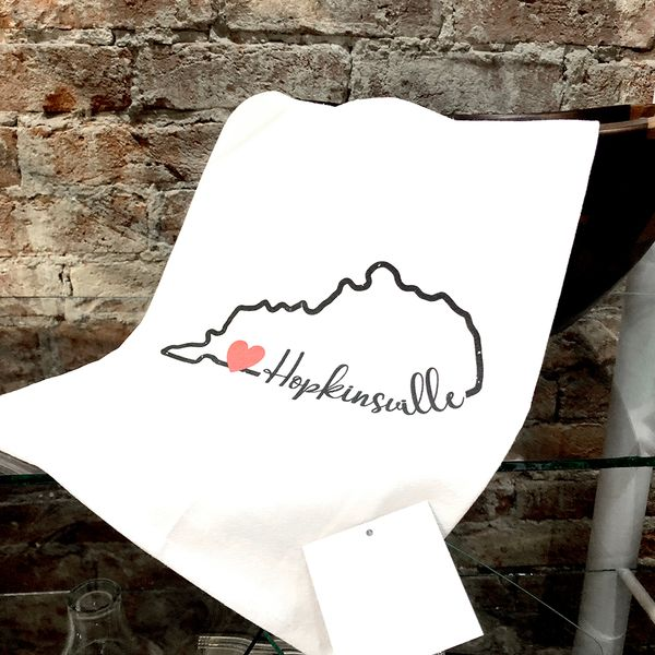 Custom Hopkinsville, Ky State Outline with Heart Flour Sack Tea Towel Image 2 J. Schrecker Jewelry Hopkinsville, KY