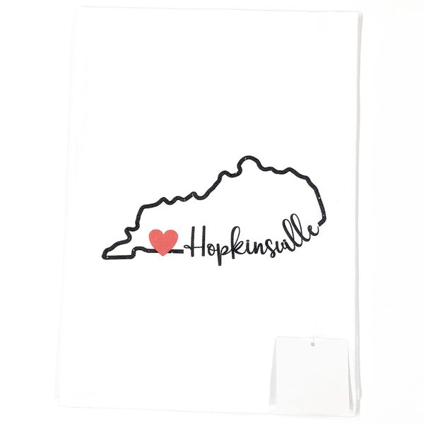 Custom Hopkinsville, Ky State Outline with Heart Flour Sack Tea Towel J. Schrecker Jewelry Hopkinsville, KY