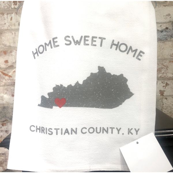 Custom Christian County, Ky Home Sweet Home Kentucky with Red Heart on White Flour Sack Tea Towel J. Schrecker Jewelry Hopkinsville, KY