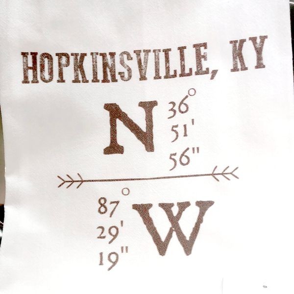 Hopkinsville Longitude & Latitude Tea Towel J. Schrecker Jewelry Hopkinsville, KY