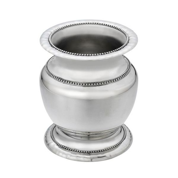 Heritage Collection Pewter Finish Banded Bead Footed Vase J. Schrecker Jewelry Hopkinsville, KY