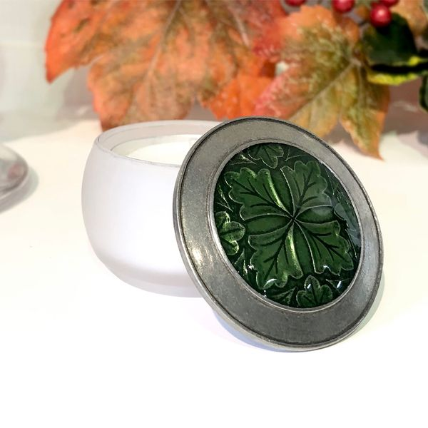 Danforth Pewter Tea Light with Pewter Lid Featuring the Classic Leaf Design with Green Enamel J. Schrecker Jewelry Hopkinsville, KY