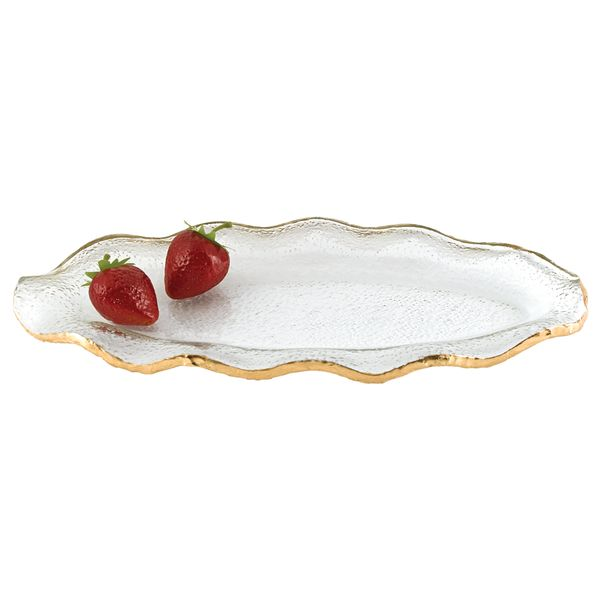 Gold Edge Oval Ruffled Glass Tray with Gold Leaf Detail J. Schrecker Jewelry Hopkinsville, KY
