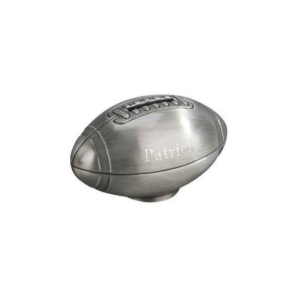 Football bank in Pewter Finish Image 2 J. Schrecker Jewelry Hopkinsville, KY