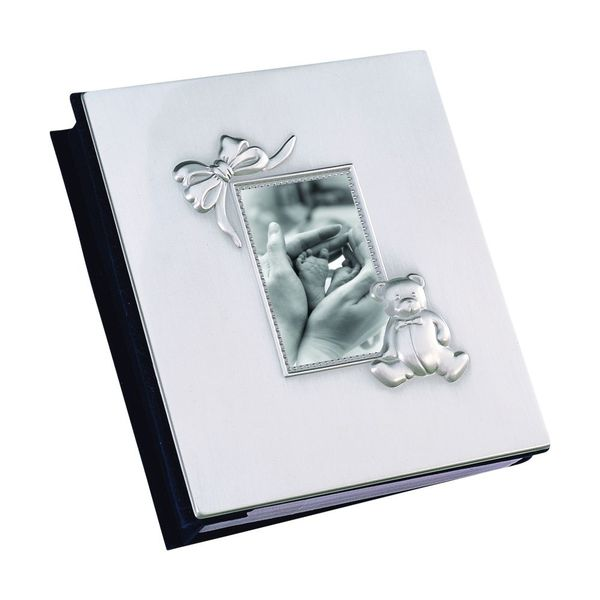 Pewter Finish Bow and Bear Baby Album J. Schrecker Jewelry Hopkinsville, KY