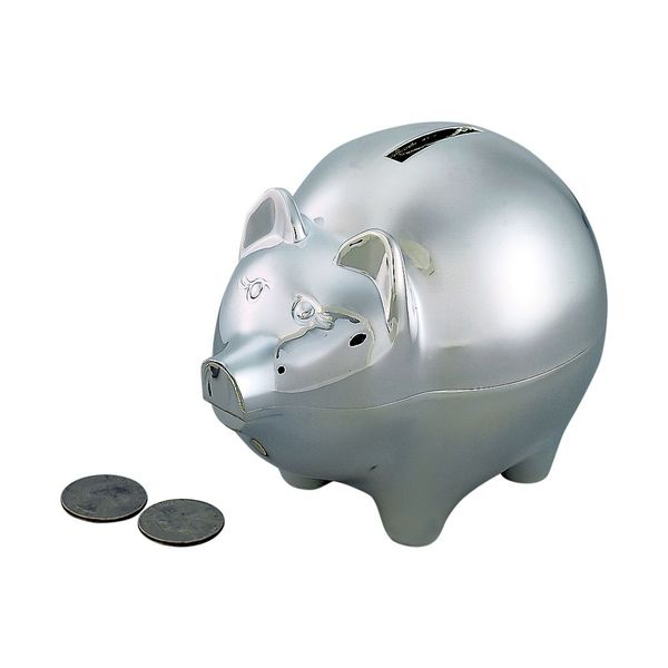 Large Piggy Bank in a Polished Nickel Plated Finish J. Schrecker Jewelry Hopkinsville, KY